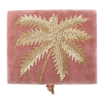 Beaded Palm Tree Velvet Jewelry Box - Dusty Pink