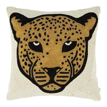 Beaded Leopard Head Pillow Cover - 35x35cm