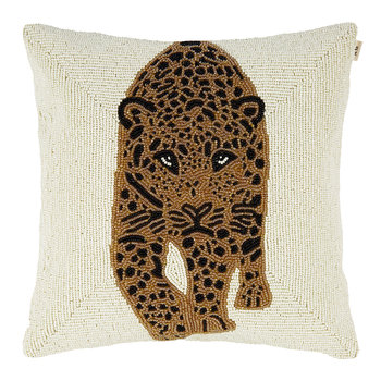 Beaded Leopard Pillow Cover - 35x35cm