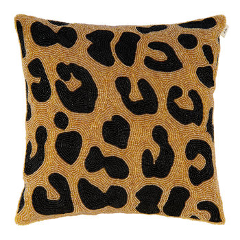 Beaded Black & Gold Leopard Print Pillow Cover - 35x35cm