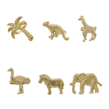 Assorted Animal Brass Napkin Rings - Set of 6