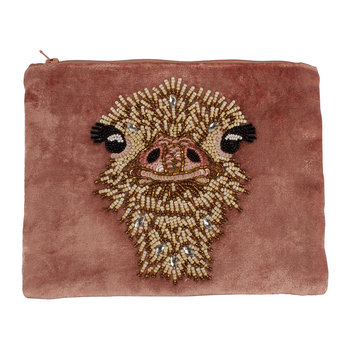 Beaded Velvet Pouch - Ostrich - Dusty Pink