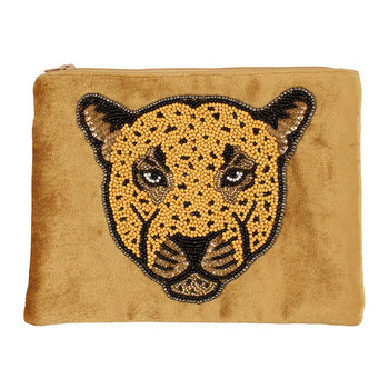 Beaded Velvet Pouch - Leopard - Gold