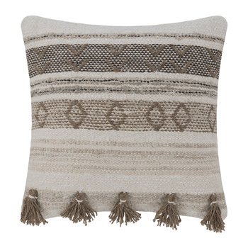 Ethnic Tassel Pillow - Natural/Brown - 50x50cm