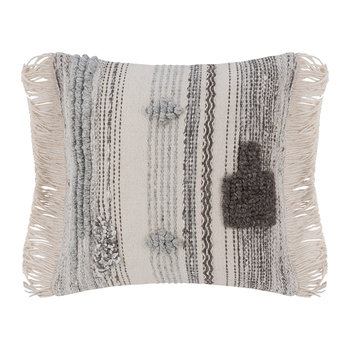 Ethnic Fringe Pillow - Natural/Gray - 50x50cm