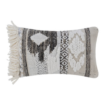 Diamond Fringed Pillow - Natural/Gray - 30x50cm