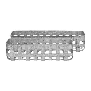 Woven Galvanised Rectangular Baskets - Set of 2