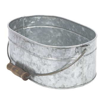 Oval Galvanized Planter with Handle