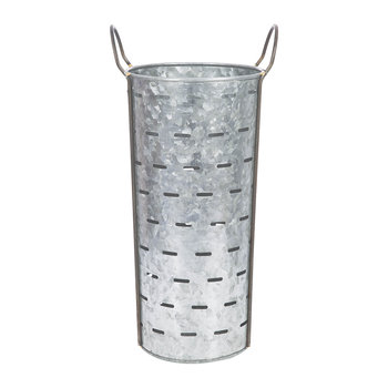 Tall Slotted Galvanised Bucket with Handles