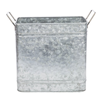 Rectangular Galvanised Bucket with Handles