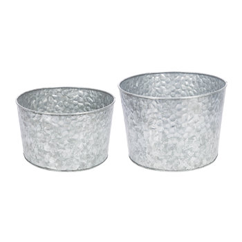 Hammered Galvanised Plant Pots - Set of 2