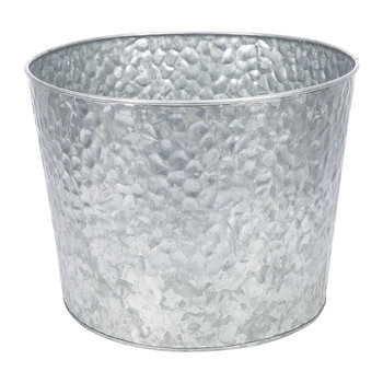 Large Hammered Galvanised Plant Pot