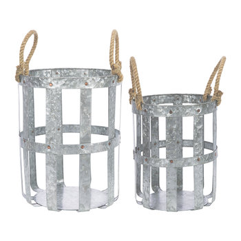 Woven Galvanised Baskets with Rope Handles - Set of 2