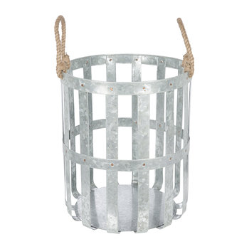 Large Woven Galvanised Basket with Rope Handles