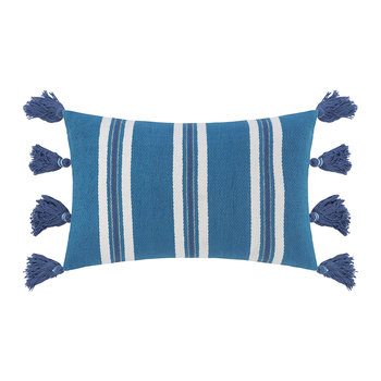 Thick Stripe Tassel Pillow - 40x60cm - Blue
