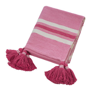 Thick Stripe Tassel Throw - 130x170cm - Pink
