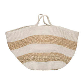 Knitted Jute Striped Basket - White/Natural