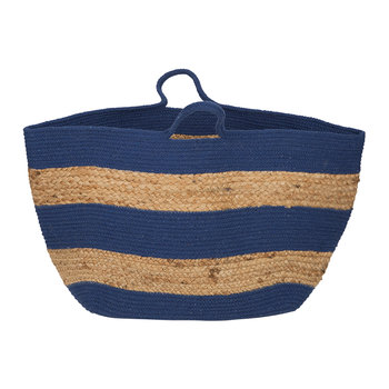 Knitted Jute Striped Basket - Navy/Natural