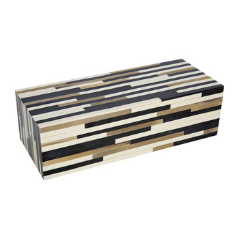Striped Resin and Horn Box - Black/White