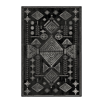 Black Stone Persian Diamond Vinyl Floor Mat - Black/White