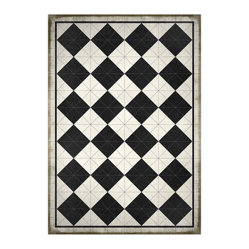 5th Avenue Squares Vinyl Floor Mat - Black/White