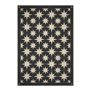 5th Avenue Stars Vinyl Floor Mat - Black/Cream
