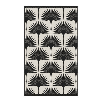 Black Stone Art Deco Fan Vinyl Floor Mat