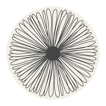 Mirage Flower Round Vinyl Floor Mat - White/Black