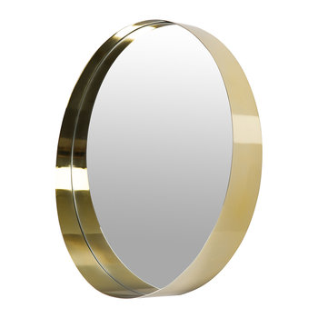 Round Brushed Border Mirror - Gold