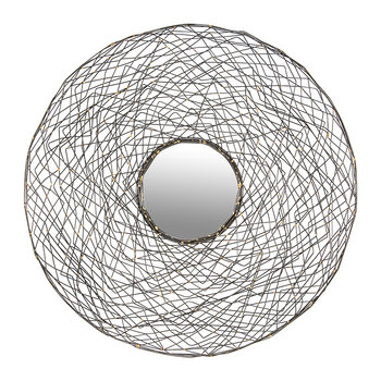 Round Nested Wire Mirror - Pewter & Gold