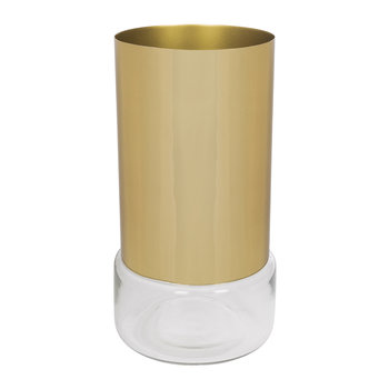 Tube Vase - Clear Glass/Gold Steel