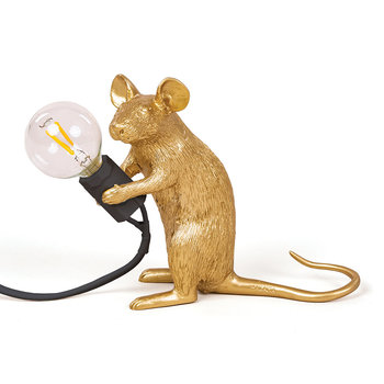Mouse Lamp - Sitting - Gold