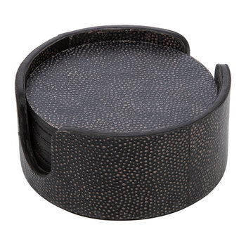 Speckled Shagreen Leather Coasters - Round - Set of 6
