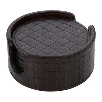 Chocolate Weave Leather Coasters - Round - Set of 6