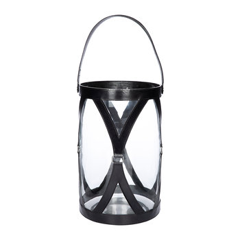 Large Leather & Glass Hurricane - Black