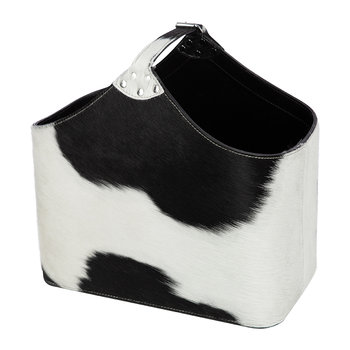 Cowhide Magazine Basket