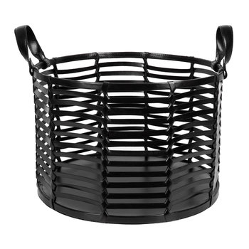 Slotted Leather Basket - Black