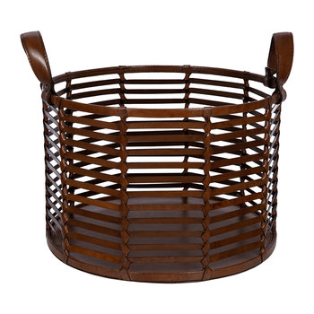 Slotted Leather Basket - Tan