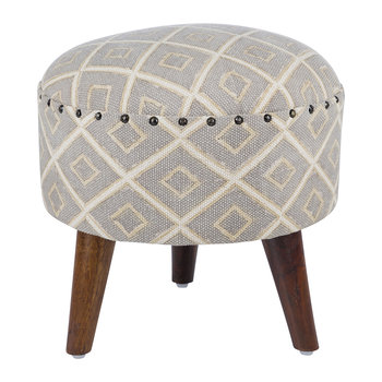 Diamond Press Round Stool - Grey/Natural