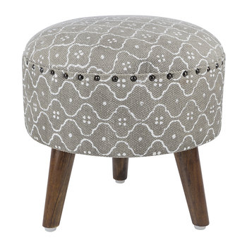 Printed Tile Round Stool - Gray/White