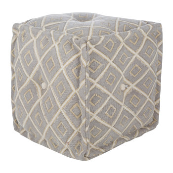 Diamond Press Cube Pouf - Grey/Natural