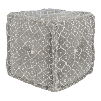Printed Tile Cube Pouf - Grey/White