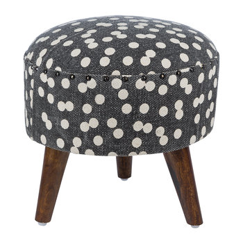 Spotted Round Stool - Navy/Natural