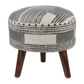 Printed Stripe Round Stool - Grey/Natural