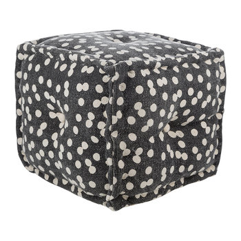 Spotted Cube Pouf - Navy/Natural