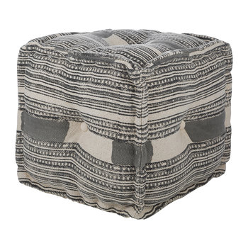 Printed Stripe Cube Pouf - Grey/Natural