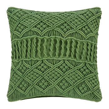Grid Crochet Pillow - Green - 45x45cm