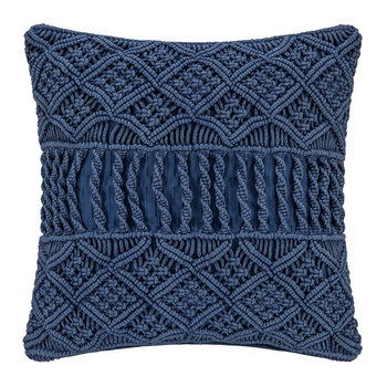 Grid Crochet Pillow - Blue - 45x45cm