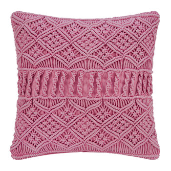 Grid Crochet Pillow - Pink - 45x45cm