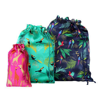 Set of 3 Travel Bags - Tropical Mixed